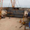 The living quarters shortly before being installed onto the oil rig structure